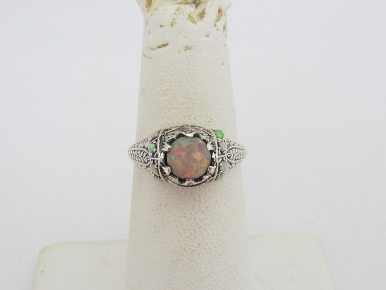 Vintage Sterling Silver Fire Opal Filigree Ring Size 9