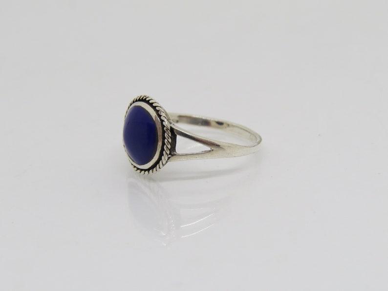 Vintage Sterling Silver Lapis Lazuli Rope Ring Size 7