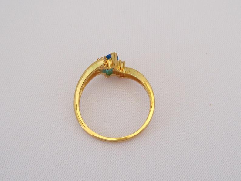 Vintage Sterling Silver Gold Vermeil Blue Topaz /& CZ Ring Size 10