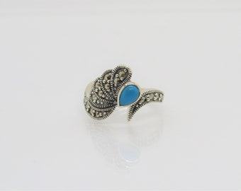 Vintage Sterling Silver Turquoise & Marcasite Angel Wing Ring Size 7