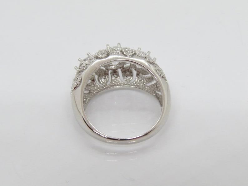Vintage Sterling Silver White Topaz Filigree Dome Ring Size 8