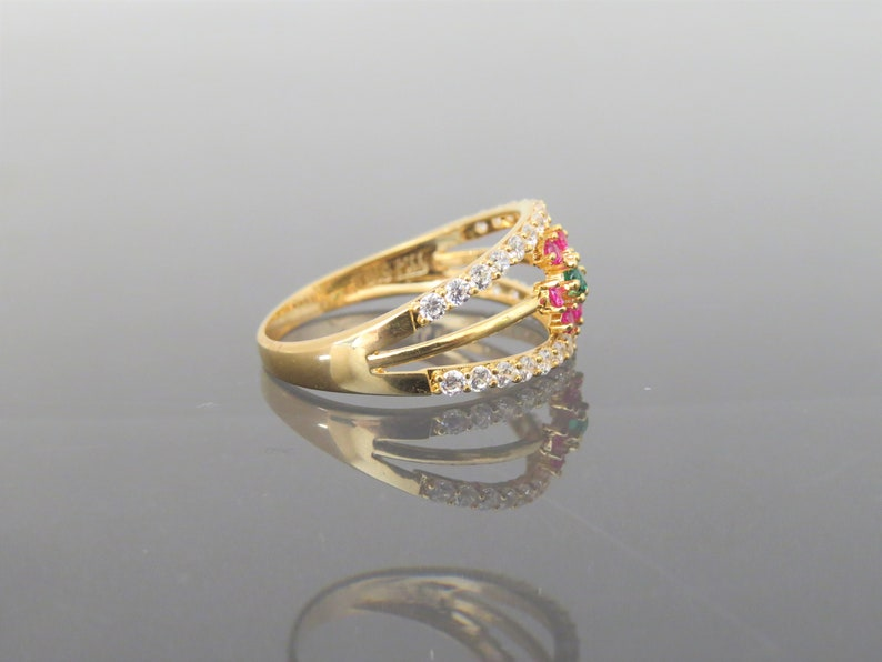 White Topaz /& Emerald Flower Ring Size 6.25 Vintage 18K Solid Yellow Gold Ruby