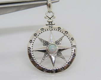 Vintage Sterling Silver White Opal Compass Pendant