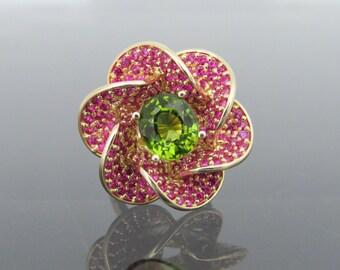 Vintage 14K Yellow Gold 3.98ct Natural Peridot & Pink Tourmaline Flower Ring Size 6.5
