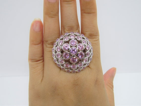 Vintage Sterling Silver Pink Rhodochrosite  Dome Ring Size 8