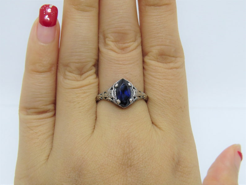 Vintage Sterling Silver Blue Sapphire Filigree Ring Size 8