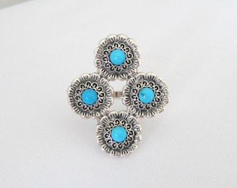 Vintage Sterling Silver Turquoise Flower Ring Size 8