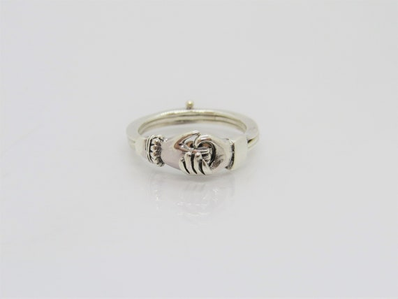 Vintage Sterling Siver Open Hand & Heart Ring Size 7