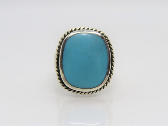Vintage Sterling Silver Turquoise Dome Ring Size 9