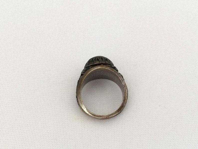 Vintage Sterling Silver 1974 ROSLINDALE High School Black Onyx Ring Size 6.5