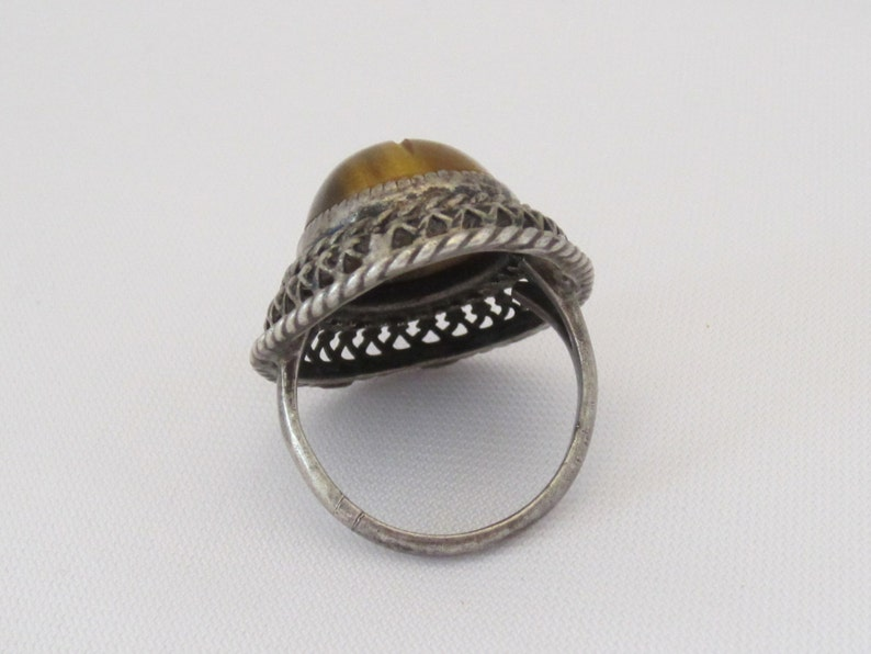 Antique Art Nouveau Sterling Silver Tiger/'s Eye Filigree Ring Size 5.5