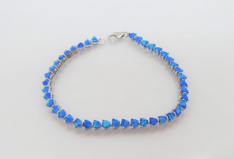 Vintage Sterling Silver Heart cut Blue Opal Link Chain Bracelet 7 68/'/'