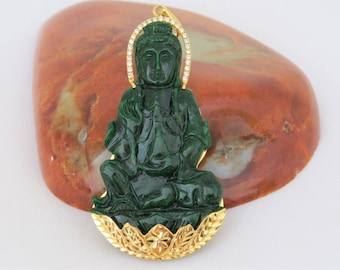 Vintage 18K Solid Yellow Gold 96.3ct Natural Emerald Green Jadeite Jade Diamond Quan Yin, Kwan Yin Buddha Pendant