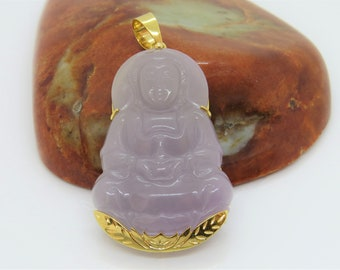 Vintage 18K Solid Yellow Gold Natural Purple Lavender Jadeite Jade Carved Quan Yin Buddha Pendant