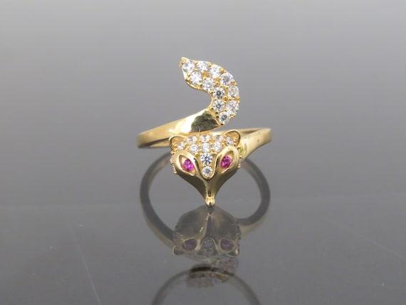 e0dd9cdf7 Vintage 18K Solid Yellow Gold Ruby & White Topaz FOX Ring Size | Etsy