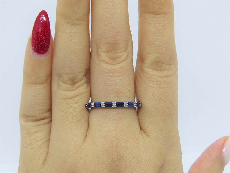 Vintage Sterling Silver Blue Sapphire Wedding Band Ring Size 7