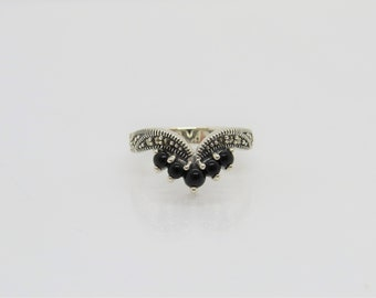 Vintage Sterling Silver Black Onyx & Marcasite Pointed Ring Size 7