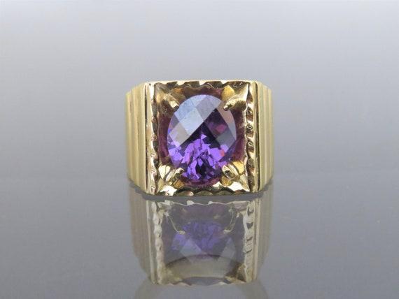 Vintage 18K Gold Oval Amethyst Men's Ring Size 8.7