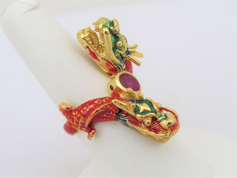 Vintage Sterling Silver Gold Vermeil Natural Ruby Enamel Dragon Ring Size 7.5