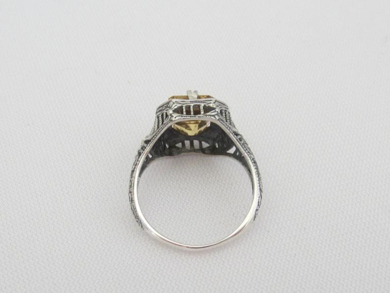 Vintage Sterling Silver Natural Citrine Filigree Ring Size 7