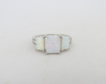 Vintage Sterling Silver Radiant cut White Opal & White Topaz Ring Size 6