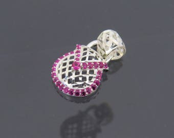 Vintage Sterling Silver Ruby Basket Weave Purse Charm Pendant