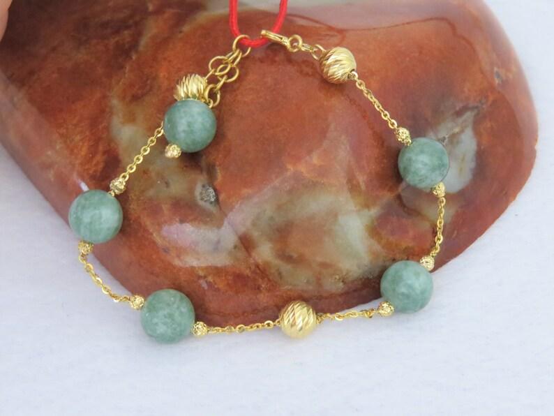 Vintage 18K Solid Yellow Gold Green Jadeite Jade Link Bracelet 7/'/'