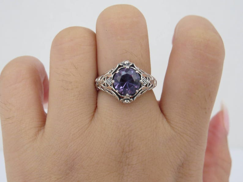 Vintage Sterling Silver Round cut Alexandrite Filigree Ring Size 7