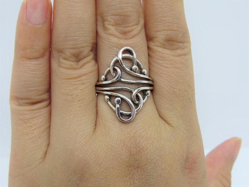 Vintage Sterling Silver Filigree Ring Size 8