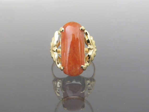 Vintage 18K Solid Yellow Gold Red Jadeite Jade Sad