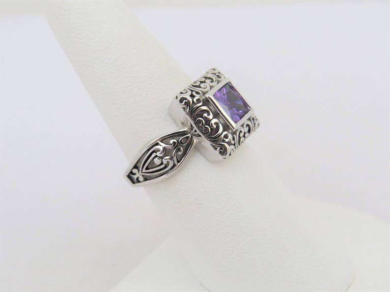Vintage Sterling Silver Princess cut Amethyst Filigree Ring Size 7