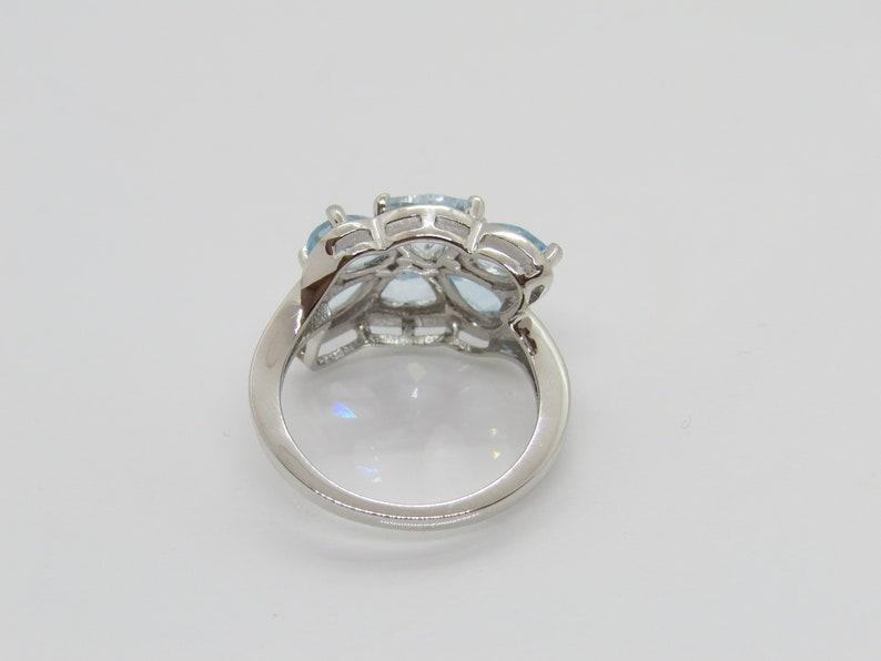 Vintage Sterling Silver 4.34Ct Natural Aquamarine Cluster Ring Size 8
