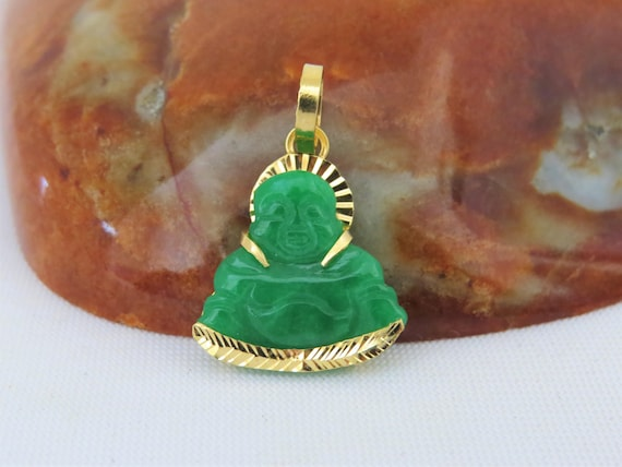 Vintage 18K Solid Yellow Gold Green Light Lavender White Jadeite Jade Carved Laughing Buddha Pendant