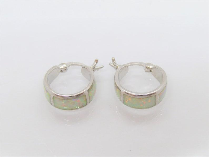 Vintage Sterling Silver White Opal Hoop Earrings
