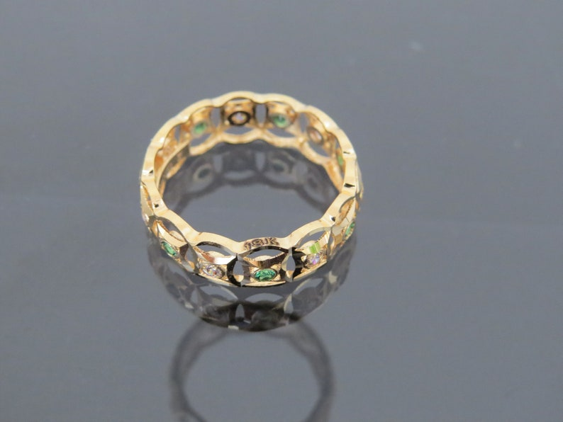 Vintage 18K Solid Yellow Gold Emerald /& White Topaz Band Ring Size 7.75