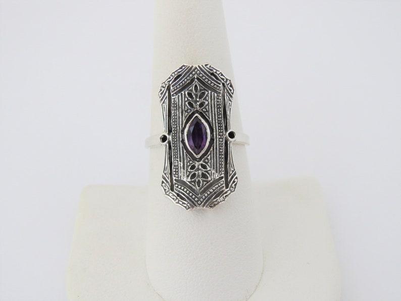 Vintage Sterling Silver Natural Amethyst Filigree Long Ring Size 8