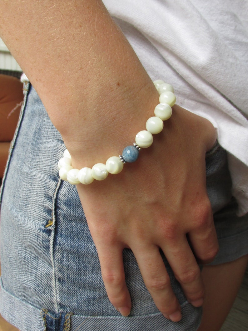 Always Free Shipping in US Boho Unisex Wrist Mala Mother of Pearl Aquamarine and Sterling Silver Stretch Bracelet