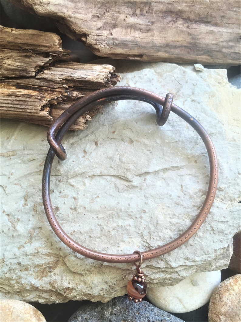 Heavy Copper Adjustable Bangle with Banded Agate Charm Always Free Shipping in US Boho Unisex Bracelet