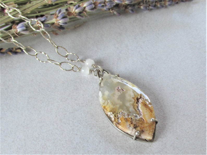 Statement Gemstone Necklace Bohemian Gypsy Jewelry OOAK Artisan Handmade Plume Agate in Sterling Silver Pendant Necklace Free Shipping