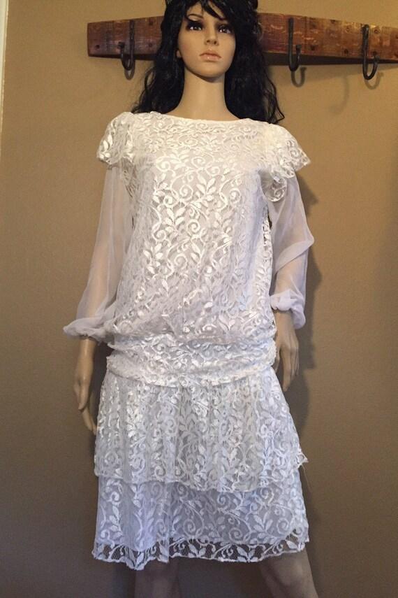 f5ae7901a2f Vintage Flapper Style Dress Wedding Dress Antique Lace