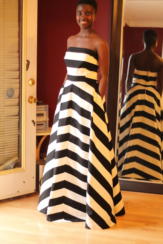 Items Similar To Black And White Also Blue Striped Dress
