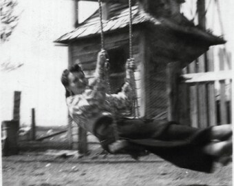 Vintage Photo of Woman Swinging Blurry Movement 1940's, Original Found Photo, Vernacular Photography