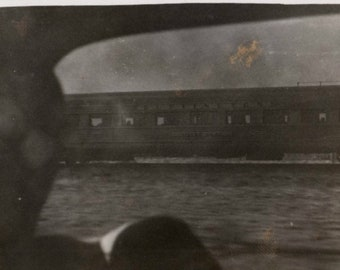 Vintage Photo Watching Train Go By Through Train Window 1940's, Original Found Photo, Vernacular Photography
