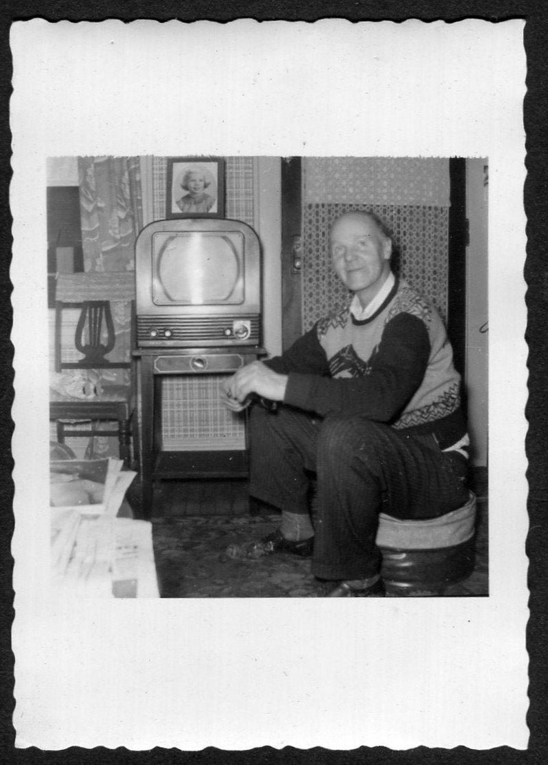 Vintage Photo Man Sitting Too Close to TV Set 1950/'s Vernacular Photograph Original Found Photo