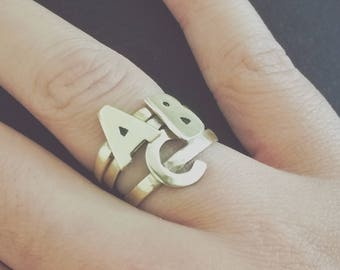 Letter Ring in Brass or Sterling Silver
