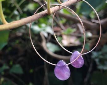 Amethyst Earrings, Hoop Earrings, Hoops, Sterling Silver Earrings, Purple Earrings, Infinity Hoops, Amethyst Tear Drop Pendant, Lavender