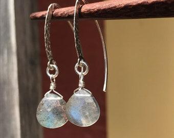 Labradorite Earrings, Labradorite Marquise Earrings, Marquise Earrings, Hammered Silver Earrings, Silver Earrings, Dressy Earrings