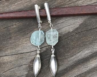 Aquamarine, Aquamarine Earrings, Aquamarine Stone, Minimalist Earring, Silver Earrings, Dressy Earrings, Modern Earrings, Leverback Earrings
