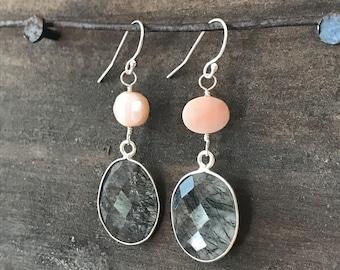 Rutilated Quartz, Black Rutilated Quartz Earrings, Black Quartz Earrings, Tourmalinated Quartz, Opal Earrings, Pink Opal, Everyday Earrings