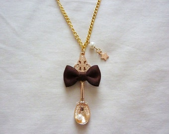 Pearl Ribbon Bow Gold Spoon Necklace